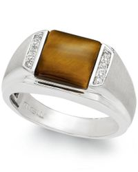 Macy's | Brown Men's Tiger's Eye (2-2/3 Ct. T.w.) And Diamond Accent Ring In Sterling Silver for Men | Lyst