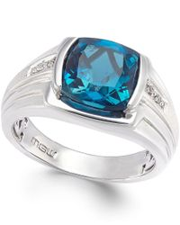 Macy's | White Men's Blue Topaz (5 Ct. T.w.) And Diamond Accent Ring In Sterling Silver for Men | Lyst