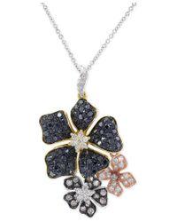 Effy Collection - Black Multicolor Diamond Flower Pendant Necklace (1-3/8 Ct. T.w.) - Lyst