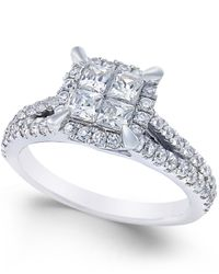 Macy's | Square Quad Halo Diamond Engagement Ring (1 Ct. T.w.) In 14k White Gold | Lyst