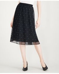 Maison Jules - Black Tulle Imitation-pearl Skirt, Created For Macy's - Lyst