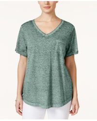 Style & Co.   Green Plus Size Patch-pocket Tee   Lyst