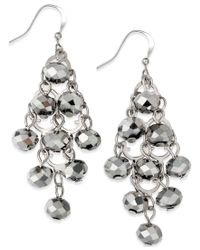INC International Concepts | Metallic Silver-tone Rondelle Bead Drop Earrings | Lyst
