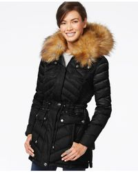 Laundry by Shelli Segal | Black Faux-fur-collar Puffer Down Jacket | Lyst