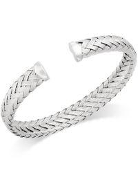 Macy's   Metallic Woven Cuff Bracelet In Sterling Silver   Lyst
