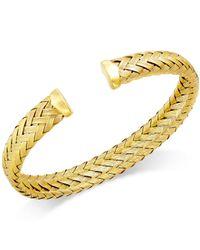 Macy's | Metallic Woven Cuff Bracelet In 14k Gold Over Sterling Silver | Lyst