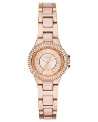 Michael Kors   Pink Women's Petite Camille Blush Acetate And Rose Gold-tone Stainless Steel Bracelet Watch 26mm Mk4292   Lyst