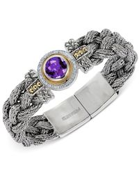 Effy Collection - Metallic Amethyst (3 Ct. T.w.) And Diamond (1/5 Ct. T.w.) Bracelet In Sterling Silver And 18k Gold - Lyst