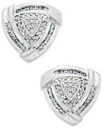 Macy's - Metallic Trillium Diamond Earrings (1/4 Ct. T.w.) In Sterling Silver - Lyst