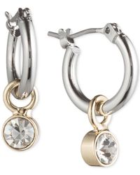 Lonna & Lilly - Pink Silver- & Gold-tone Hoop Earrings With Stone Drop - Lyst