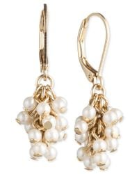 Lonna & Lilly - Metallic Gold-tone Imitation Pearl Cluster Drop Earrings - Lyst