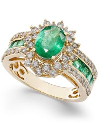 Macy's - Metallic Emerald (1-3/4 Ct. T.w.) And Diamond (3/4 Ct. T.w.) Ring In 14k Gold - Lyst