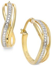 Macy's - Metallic Diamond Accent Curved Hoop Earrings In 18k Gold Over Sterling Silver - Lyst