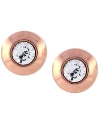 Vince Camuto | Pink Rose Gold-tone Crystal Round Stud Earrings | Lyst