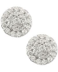 Macy's   Diamond Cluster Stud Earrings In 14k White Gold (1/2 Ct. T.w.)   Lyst