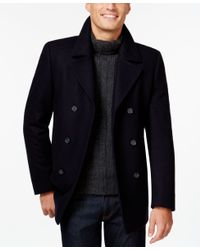 DKNY | Blue Danby Slim-fit Solid Peacoat for Men | Lyst