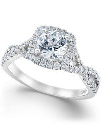 X3 - Metallic Certified Diamond Twist Shank Ring In 18k White Gold (1-1/2 Ct. T.w.) - Lyst