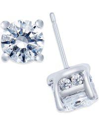 Macy's - Blue Diamond Stud Earrings (2 Ct. T.w.) In 14k White Gold - Lyst