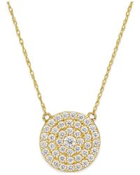 Macy's - Metallic White Sapphire (9/10 Ct. T.w.) Circle Cluster Pendant Necklace In 14k Gold - Lyst