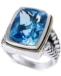 Effy Collection | Effy Blue Topaz Ring (12-1/3 Ct. T.w.) In Sterling Silver And 18k Gold | Lyst