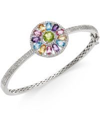 Macy's | Metallic Multi-stone (4-5/8 Ct.t.w.) Pinwheel Bangle Bracelet In Sterling Silver | Lyst