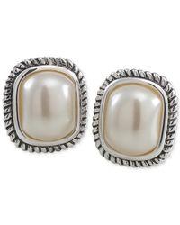 Carolee | Natural Silver-tone Large Imitation Pearl Stud Earrings | Lyst