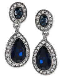 Carolee - Black Blue Crystal Double-drop Earrings - Lyst
