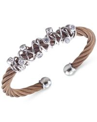 Charriol - Metallic Women's Tango Bronze Pvd Stainless Steel With White Topaz Stones Cable Bangle Bracelet 04-25-1184-6l - Lyst
