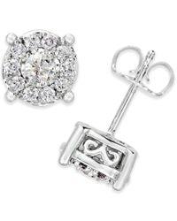 Macy's - White Diamond Earrings (1/2 Ct. T.w) In 14k Gold - Lyst
