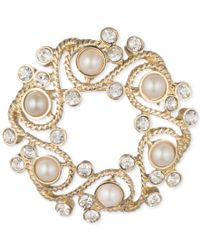 Anne Klein   Metallic Gold-tone Imitation Pearl And Crystal Wreath Pin, A Macy's Exclusive Style   Lyst