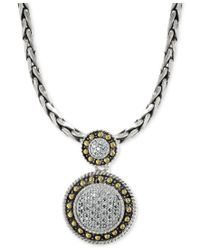 Effy Collection - Metallic Effy Diamond Circle Pendant Necklace (1/8 Ct. T.w.) In 18k Gold And Sterling Silver - Lyst