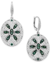 Macy's - Green Emerald (1-1/3 Ct. T.w.) And Diamond (1/4 Ct. T.w.) Floral Disc Drop Earrings In Sterling Silver - Lyst