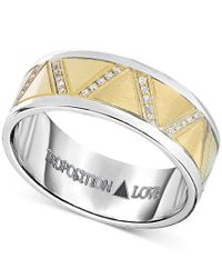 Proposition Love - Metallic Men's Diamond Wedding Band (1-1/10 Ct. T.w.) In 14k Yellow Gold & Cobalt for Men - Lyst