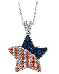 Macy's - Blue Multicolored Diamond Star Pendant Necklace (1/3 Ct. T.w.) In Sterling Silver - Lyst