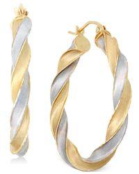 Macy's - Metallic Two-tone Twist Hoop Earrings In 14k Gold - Lyst