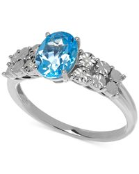 Macy's - Blue Topaz (1-3/8 Ct. T.w) And Diamond Accent Ring In 14k White Gold - Lyst