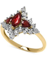 Macy's | Metallic Ruby (7/8 Ct. T.w.) And Diamond Accent Lady Diana Ring In 10k Gold | Lyst