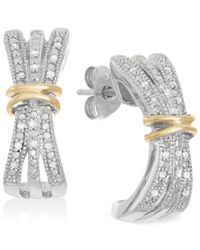 Macy's - Metallic Diamond Three-row Hoop Earrings (1/10 Ct. T.w.) In 14k Gold And Sterling Silver - Lyst