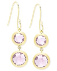 Macy's | Metallic Victoria Townsend Amethyst (9 Ct. T.w.) Bezel Drop Earrings In 18k Gold Over Sterling Silver | Lyst