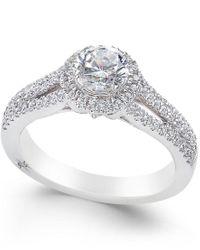Marchesa | Metallic Certified Diamond Halo Ring (1 Ct. T.w.) In 18k White Gold | Lyst