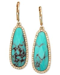 Lonna & Lilly - Blue Gold-tone Stone And Crystal Drop Earrings - Lyst