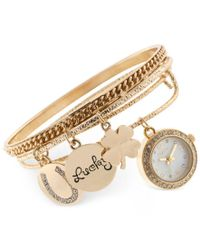 Style & Co. | Metallic Women's Crystal-accent Gold-tone Alloy Charm Bangle Bracelet Watch Set 20mm Sy011g, Only At Macy's | Lyst