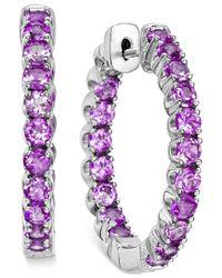 Macy's   Purple Amethyst Inside-out Hoop Earrings (4 Ct. T.w.) In Sterling Silver   Lyst