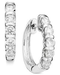 Macy's | Channel-set Diamond Hoop Earrings In 14k White Gold (1 Ct. T.w.) | Lyst