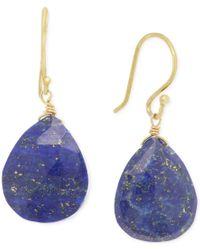 Macy's - Blue Lapis Teardrop Earrings (18 Ct. T.w.) In 14k Gold Over Sterling Silver - Lyst