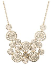 Lonna & Lilly | Metallic Gold-tone Textured Disc Drama Necklace | Lyst