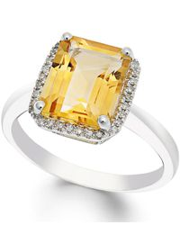Macy's | Citrine (2-2/3 Ct. T.w.) And Diamond (1/10 Ct. T.w.) Ring In 14k White Gold | Lyst