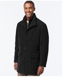 Cole Haan | Black Wool-blend Knit-collar Overcoat for Men | Lyst