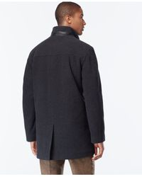 Cole Haan - Gray Wool-blend Knit-collar Overcoat for Men - Lyst