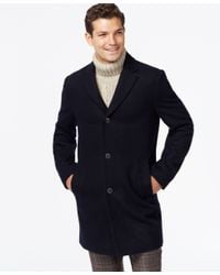 Tommy Hilfiger | Blue Melton Notch-collar Coat for Men | Lyst